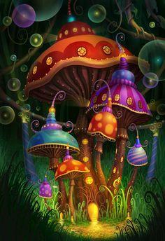 Cogumelos coloridos