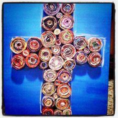 i made this magazine cross on a canvas :) Magazine Cross, Crosses, Creative Ideas, Crafty, Canvas, Hair, Decor, Recycled Art, Diy Creative Ideas