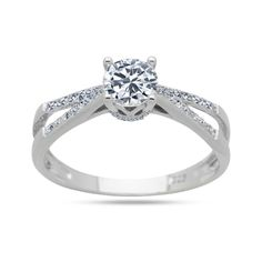 925 Sterling Silver CZ Ring 4mm Round Clear CZ Solitaire Twist Ring