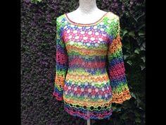 // Knitted loose shirt for summer. Crochet Books, Love Crochet, Crochet Lace, Crochet Doilies, Knitting Videos, Crochet Videos, Freeform Crochet, Thread Crochet, Vestido Multicolor