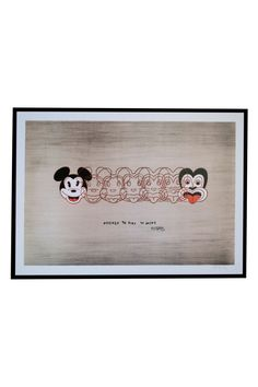 Mickey to Tiki medium framed print By Dick Frizzell - From Global Culture