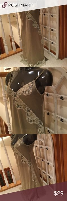 Vintage Taupe Slip or nighty, Sz Small Provocative, gorgeous lace inserts, will make you feel pampered and feminine. This is a vintage, very fine nylon garment sold in high end stores. EUC Venus of Cortland Intimates & Sleepwear Chemises & Slips