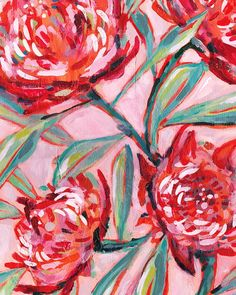 'Waratah Painting' art print available in a set (see previous post) or in its own in many easy to frame sizes. Happy Friday!