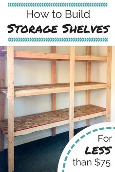 Get your garage, basement or shed organized with this inexpensive storage shelving! Free woodworking plans at The Handyman's Daughter! | easy storage shelves | easy woodworking project | cheap storage idea | garage organization | garage storage | basement organization | basement storage