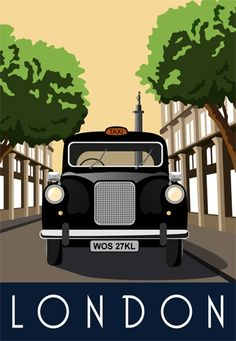 London, England....Travel Poster - I like these colors and this feel for the bedroom