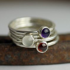 Stacking Rings - Personalized Mom RIngs - Custom Gemstone Rings - Birthstone Ring - Recycled Sterling Silver - Set of Five Rings on Etsy, $174.00