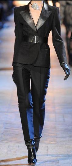 Yves Saint Laurent leather lapel