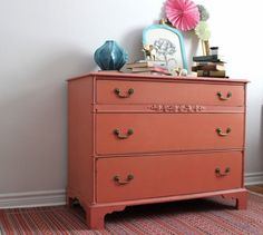 Coral Dresser Painted with Milk Paint by Poppyseedliving on Etsy