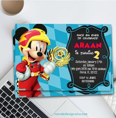 Mickey And The Roadster Racers Birthday Invitation Mickey