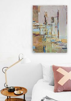 FREE SCHIPPING Abstract painting Houses VII. 100% by INKAARTSHOP