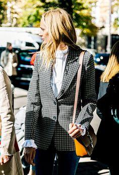 A checked blazer is timeless.