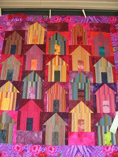 We saw lots of stripes this year. House Quilt Patterns, House Quilt Block, Star Quilt Patterns, Quilt Blocks, Colorful Quilts, Small Quilts, Mini Quilts, Quilting Projects, Quilting Designs