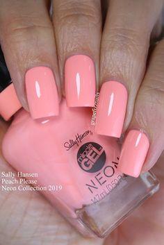 Sally Hansen Peach Please Neon Collection Nail Manicure, Toe Nails, Nail Polish, Gel Nail, Peach Nails, Rose Gold Nails, Pink Acrylic Nails, Pastel Nails, Chrome Nails