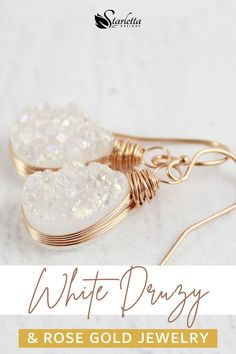 These white druzy teardrop earrings are the luxury piece of jewelry you've been looking for. They are perfect to wear with a stylish dress or long gown! They exude luxury and finesse! With the rose gold wrapping, these lightweight earrings will be your go to pieces when you want to feel royal! #whitedruzy #druzyearrings #womensjewelry #luxuryjewelry Druzy Jewelry, Rose Gold Jewelry, Rose Gold Earrings, Handmade Bridal Jewellery, Earrings Handmade, Bridal Jewelry, Druzy Quartz, Teardrop Earrings, Luxury Jewelry