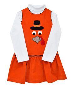 This Orange Turkey Appliqué Jumper & Turtleneck - Toddler & Girls is perfect! #zulilyfinds