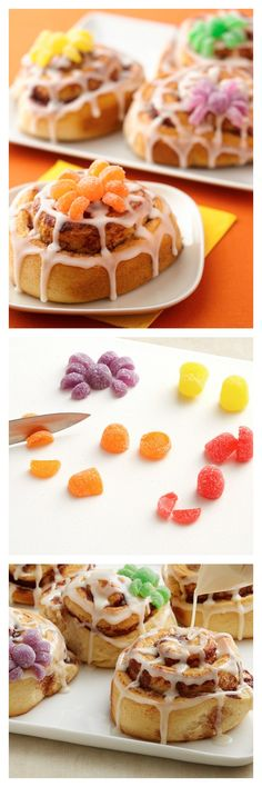 Playful cobweb cinnamon rolls for a fun Halloween-themed breakfast. These playful cobweb cinnamon rolls are fun to serve for a Halloween-themed breakfast. The colorful spiders add to the fun! Halloween Goodies, Halloween Food For Party, Healthy Halloween, Halloween Treats, Happy Halloween, Holiday Treats, Holiday Recipes, Holiday Foods, Sweet Desserts