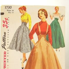 Vintage 1950s Skirt Pattern Jumper Simplicity 1730 by Revvie1