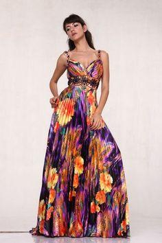 purple orange gowns | Cheap Purple & Orange Floral Print Pleated Prom Dress Sale At ...