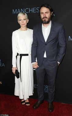 Time to shine: Michelle Williams, 36, and Casey Affleck, 41, had an emotional embrace on the red carpet for the premiere of their critically-acclaimed film Manchester By The Sea