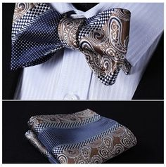 Blue Brown Check Bow Tie