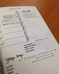 minimalist bullet journals spread | sleep log line graph | to do | habit tracker | weekly log