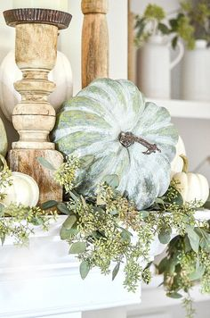 Fall Mantel Decorations, Thanksgiving Decorations, Seasonal Decor, Thanksgiving Mantle, Holiday Decor, Fall Home Decor, Autumn Home, Autumn Decorating, Decorating With White Pumpkins