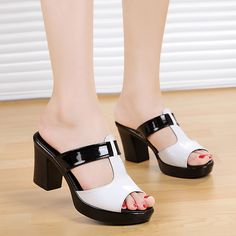 Genuine Leather Plus Size 40 Platform Shoes Women 2016 New Female High-Heeled Shoes Fashion Slippers Women's Casual Sandals Patent Shoes, Clogs Shoes, Shoe Boots, Shoes Sandals, Fashion Slippers, Fashion Shoes, Trendy Shoes, Casual Shoes, Women's Casual