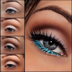 Blue glitter make up