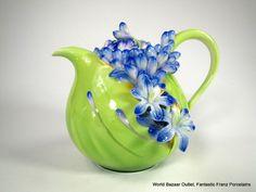 ✿Teapot✿ Franz Porcelain Lily of the Nile flower teapot