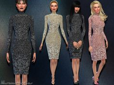 The Sims Resource: Luxury Sequin Dress with Turtleneck by Harmonia • Sims 4 Downloads