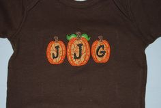 Three Pumpkin Monogram Fall Shirt by Emmasbowsandmore on Etsy, $18.00