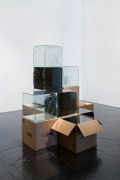 FedEx Works by Walead Beshty: Shipped Glass Boxes Become Shattered Sculptures | http://www.yellowtrace.com.au/walead-beshty-fedex-works/
