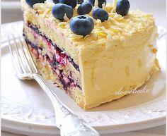 Tort śmietanowy z jagodami – przepis Vanilla Cake, Sweet Recipes, Tiramisu, Cheesecake, Birthday Cake, Pudding, Chocolate, Baking, Ethnic Recipes