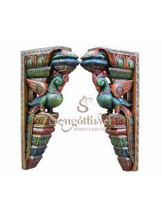 Exquisite and elegant look parrot wall brackets Wood Carving Art, Wood Carvings, Wood Crown Molding, Door Brackets, Wooden Elephant, Indian Art Paintings, Dark Wax, Vintage Type, Art Store