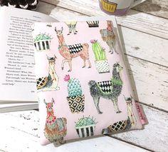 Alpaca Book Cover Llama Book Buddy Cactus Book Gift Pink