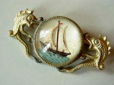 Vintage Depression Era Sulphide Nautical Brooch. $59.00, via Etsy.