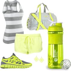 "Summer Running Necessities. ""Green and Gray Runner"" (looks like yellow) by BlenderBottle on Polyvore"