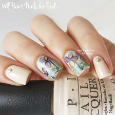 Summer wildflowers freehand nail art