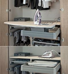 Discover recipes, home ideas, style inspiration and other ideas to try. Sewing Room Design, Laundry Room Design, Design Bedroom, Wardrobe With Dressing Table, Dressing Room, Dream Home Design, Home Interior Design, Ironing Board Storage, Shoe Cabinet Design