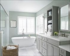 Master Bath Design Trends 2020 | Home&Garden Bathroom Windows, Dyi Bathroom, Bathroom Styling, Bathroom Green, Shiplap Bathroom, Gray And White Bathroom Ideas, Spa Master Bathroom, Bathroom Vanities, Serene Bathroom