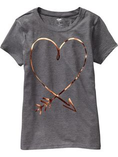 Old Navy Girls Metallic Graphic Tees - Medium charcoal gray T-shirt Broderie, Cute Graphic Tees, Love T Shirt, Tee Design, Mode Style, Diy Clothes, Printed Shirts, Kids Outfits, Old Navy