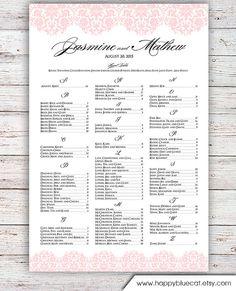 Wedding Seating Chart RUSH SERVICE Blush by HappyBlueCat on Etsy