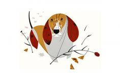 Bassett Hound Giclee by Charley Harper