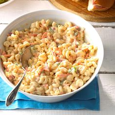Sweet Macaroni Salad Recipe -A sweet out-of-the-ordinary dressing makes this macaroni salad special. Sweet Macaroni Salad Recipe, Homemade Macaroni Salad, Pasta Salad Recipes, Macaroni Salads, Macaroni Pasta, Pasta Meals, Shrimp Recipes, Copycat Recipes, Pasta Dishes