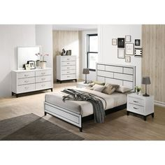 Bedroom Sets, Bedding Sets, Metal Bar, Panel Bed, Wood Planks, Bed Sizes, Engineered Wood, Brushed Nickel, Contemporary