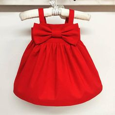 Red Bow dress,Christmas dress,simple girls sundress,red dress,newborn red dress,infant dress,girls valentines red dress