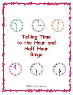 $ Telling Time to the Hour and Half Hour Bingo. Includes 24 bingo cards!