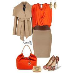 Beige + naranja, una combinación otoñal para verte sexy al trabajo.