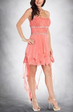 Sabina Gadecki Chiffon A-Line High Low Homecoming Dresses Model : DWHNS15096  Special Price: $99.90