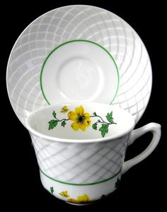 Cup And Saucer Jaqueline Yellow And White Basket Weave Wedgwood 1950s Tea Cup